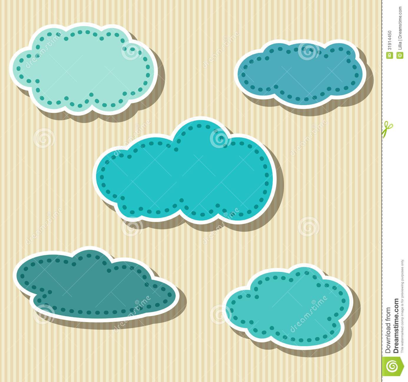 Set of cloud shaped paper tags stock vector image 31914450 for How to make a paper cloud