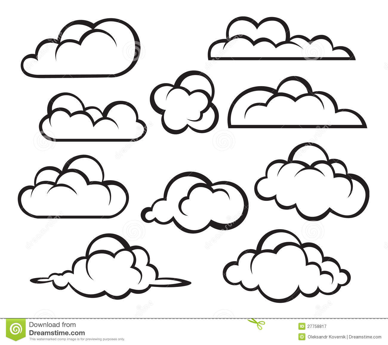Line Drawing Clouds : Set of clouds stock vector illustration weather