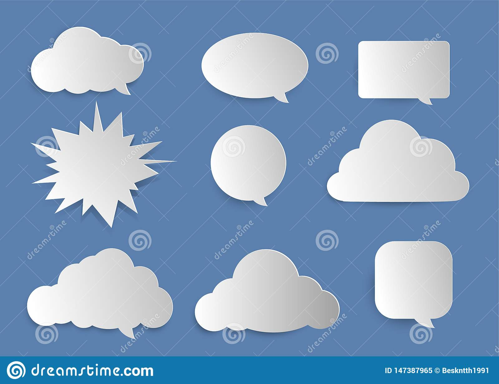 Clouds, bubbles for entering text.