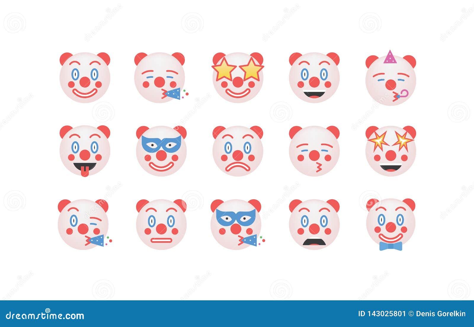 Set of clown emoticon vector