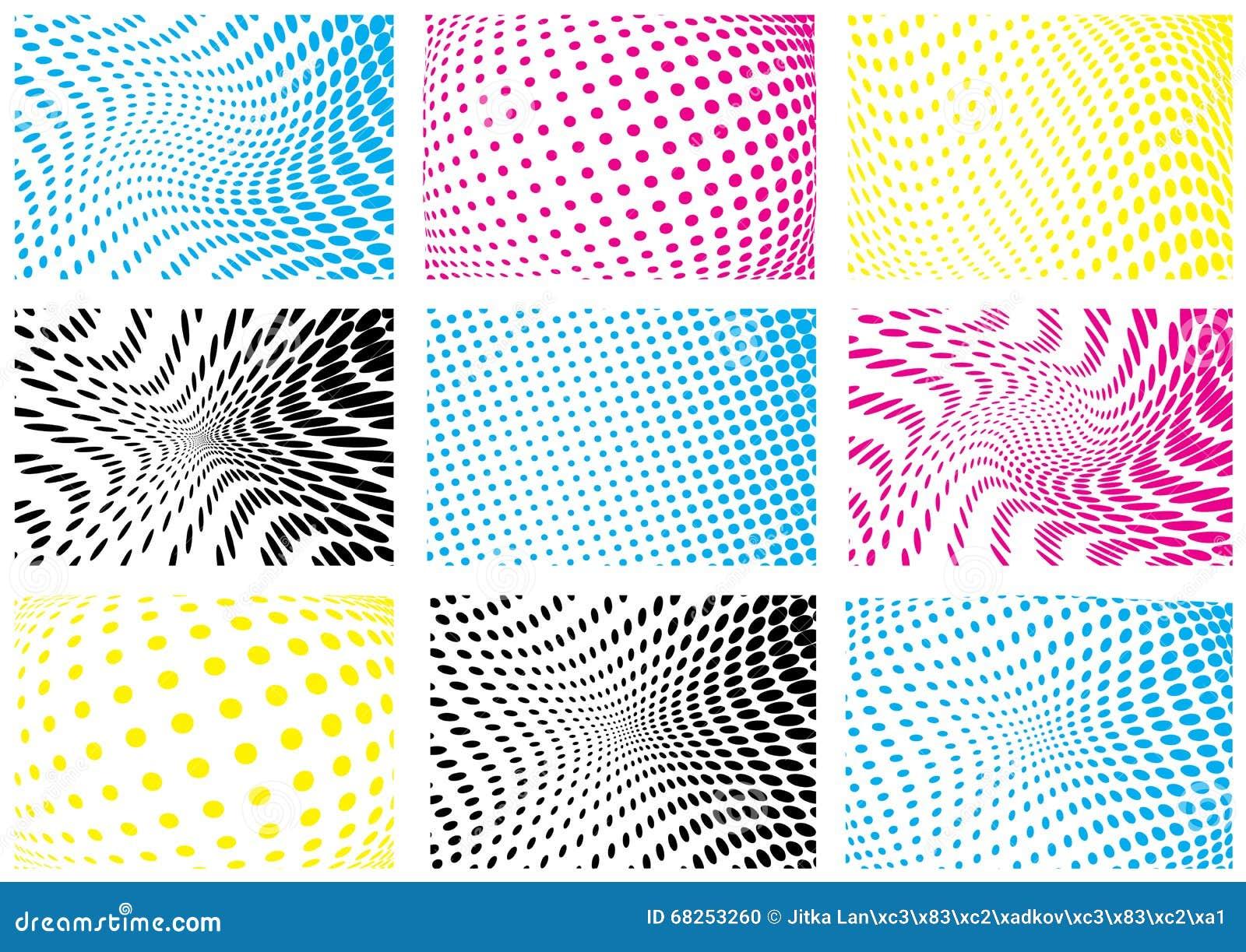 Color halftone printing - Color Halftone Printing Set Of Cmyk Color Halftone Backgrounds