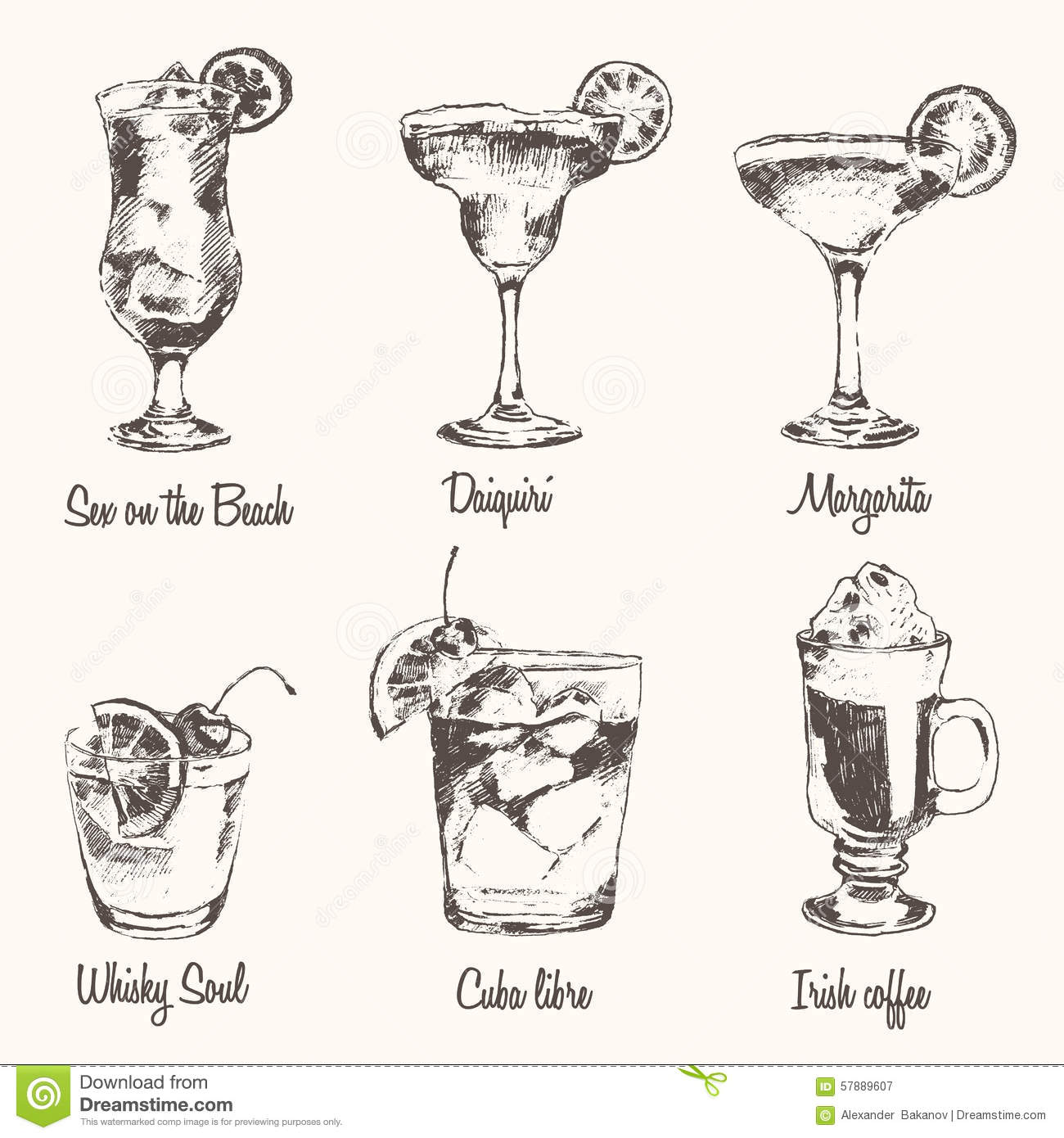 Set Cocktail Margarita Whiskey Drawn Sketch Vector Stock