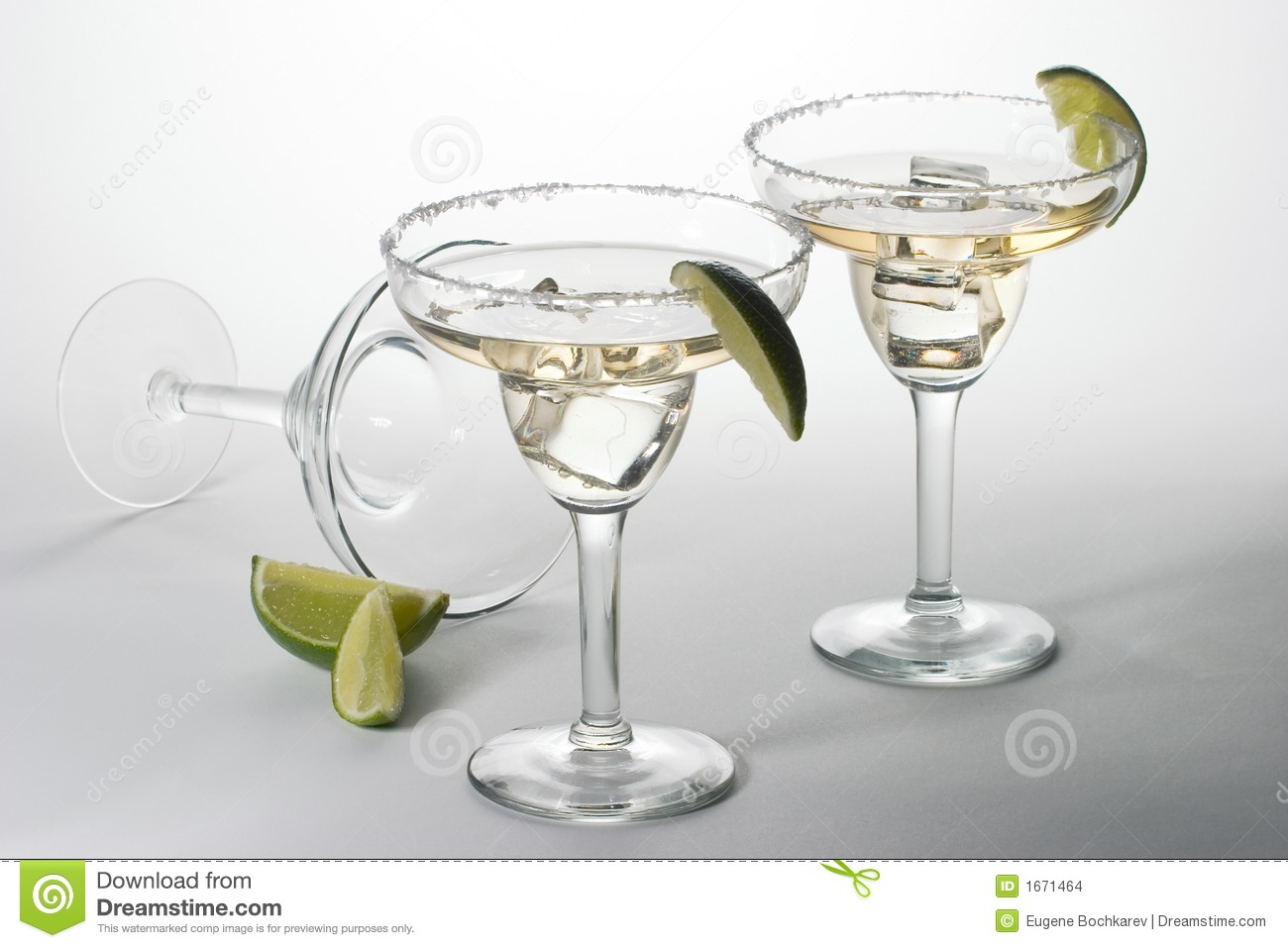 Set of cocktails with ice in Martini glasses