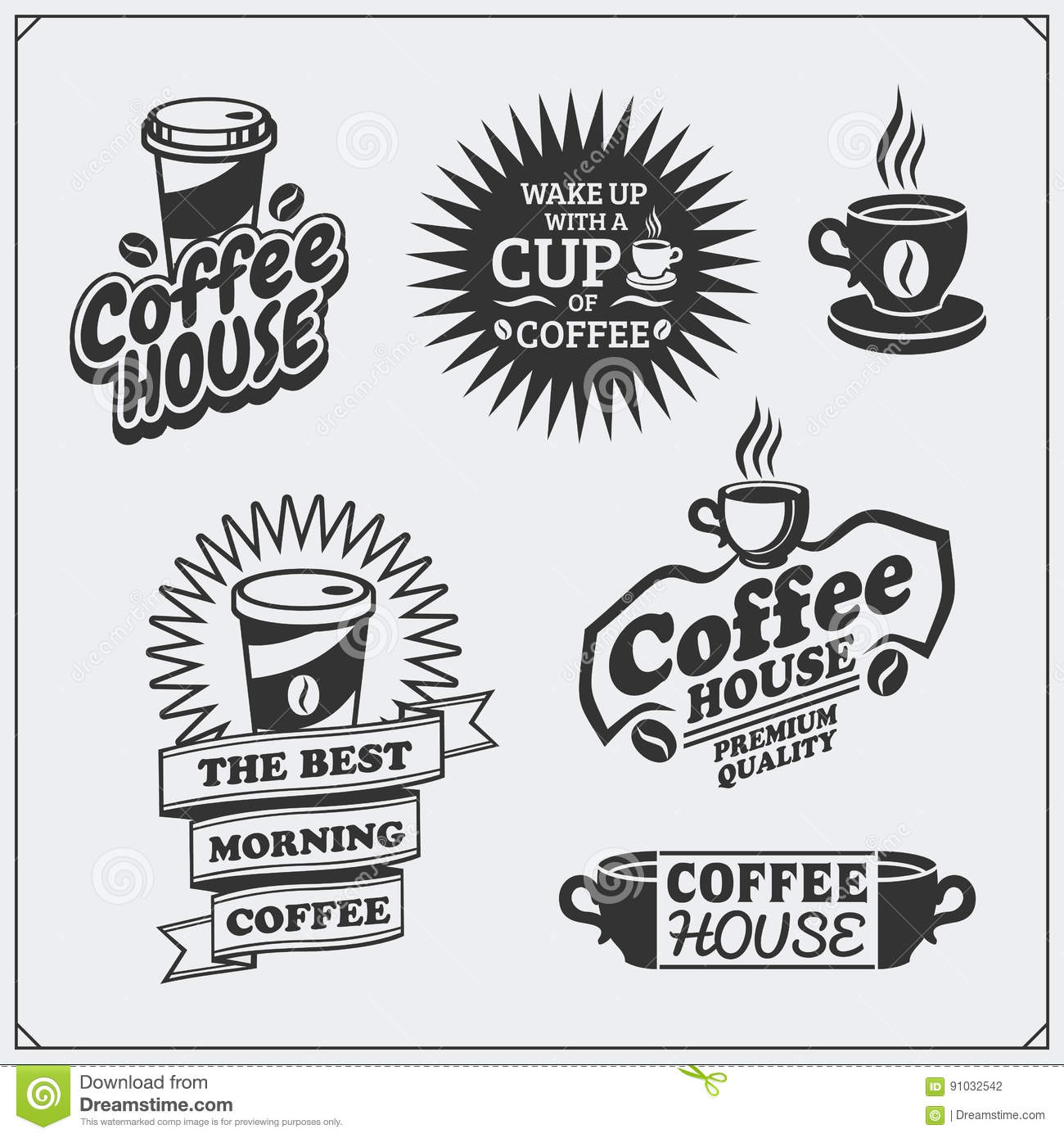 Set Of Coffee Badges, Labels And Design Elements. Coffee Shop ...