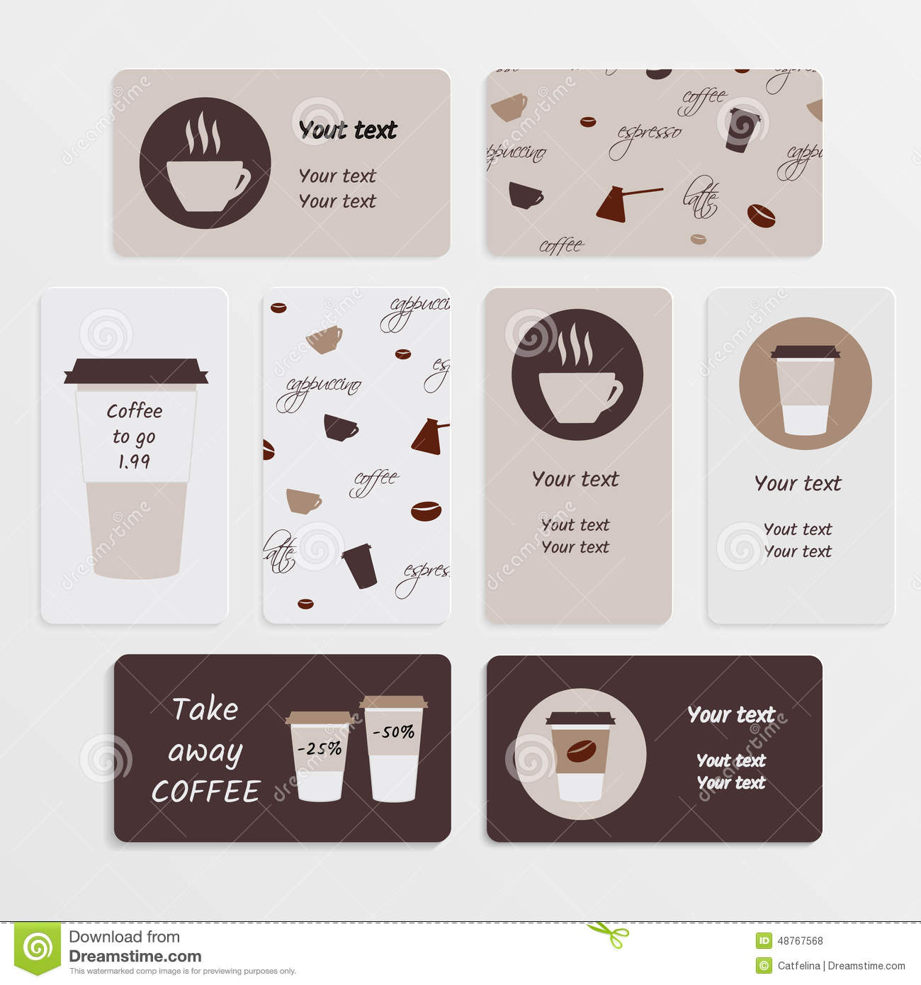 Set coffee business card stock vector. Illustration of cream - 48767568