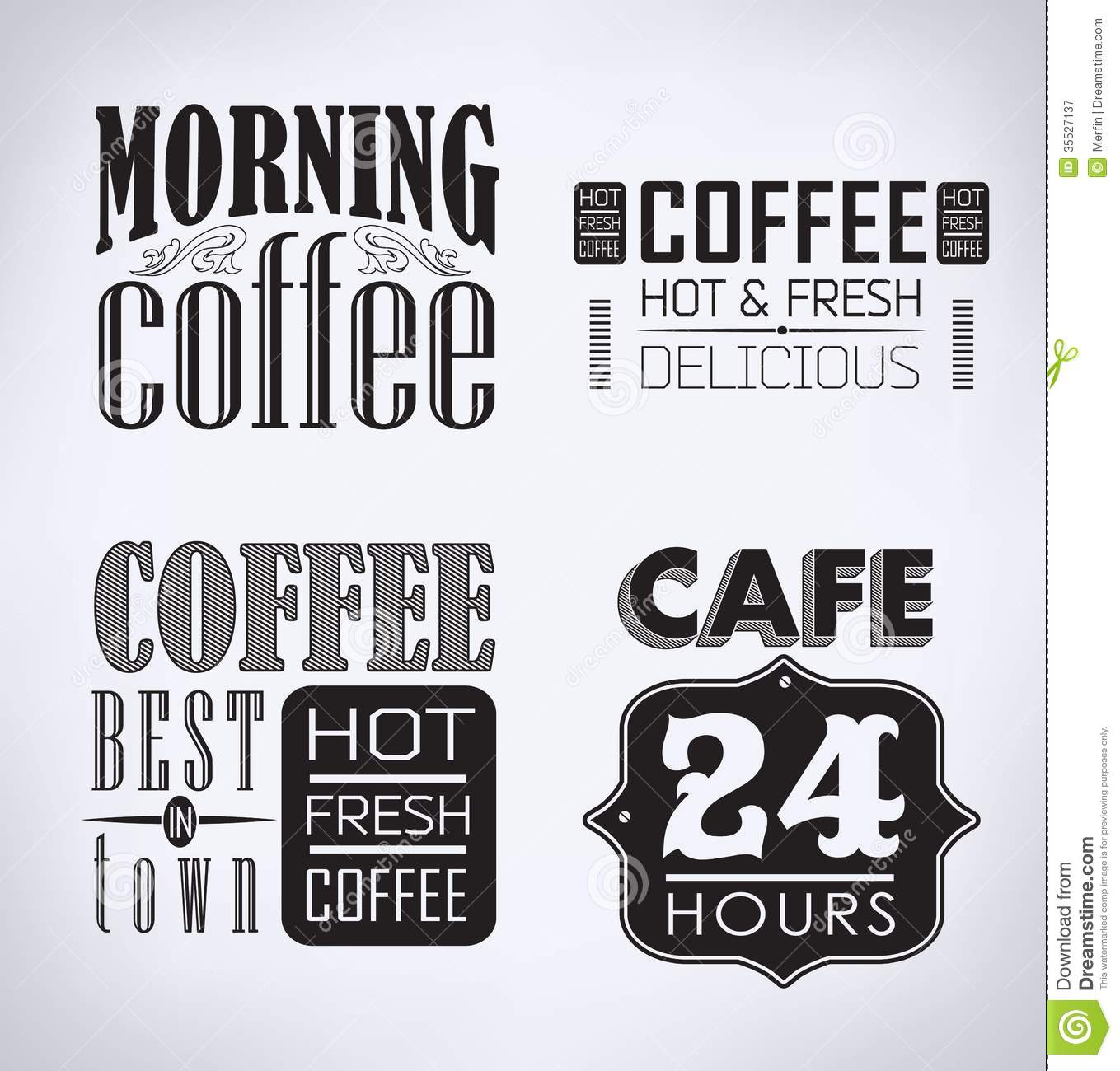 Set Of Coffee Cafe Typographic Elements Royalty Free