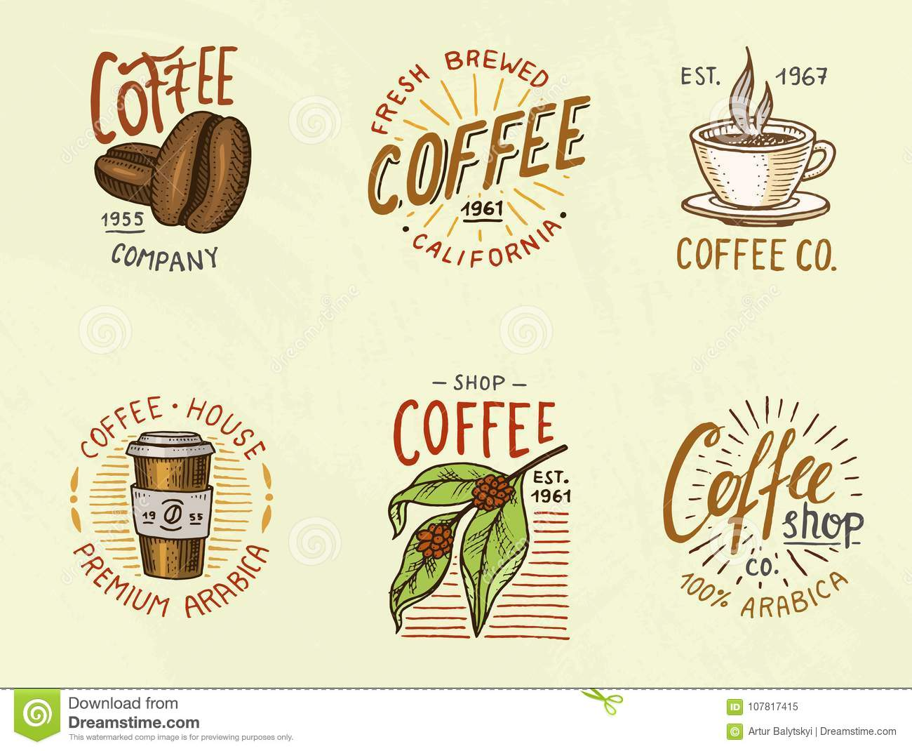 Set of coffee logos. modern vintage elements for the shop menu. Vector illustration. design decoration collection for