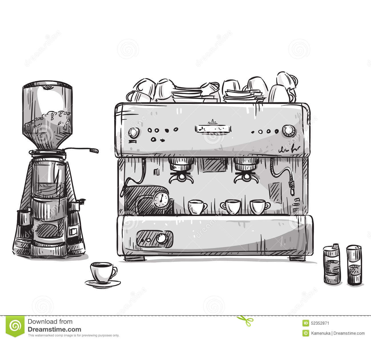 Coffee Grinder Drawing ~ Set coffee making equipment coffeemaker and grinder