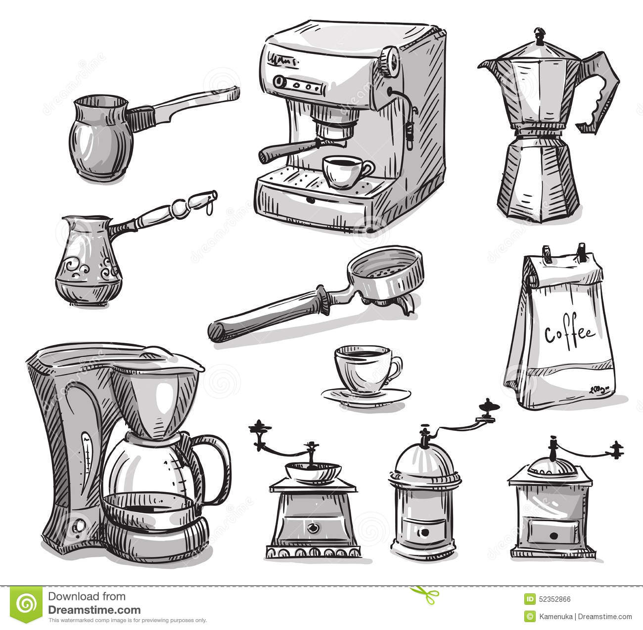 Line Drawing Maker : Set coffee making equipment stock vector image