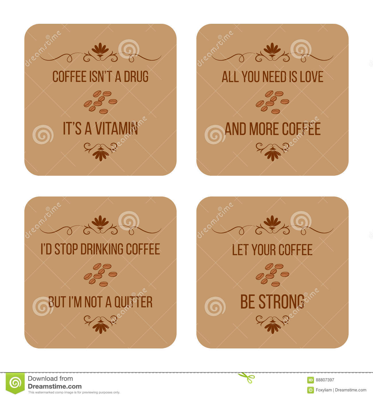Set Of Coffee Quotes, Can Be Used For Flyers, Posters