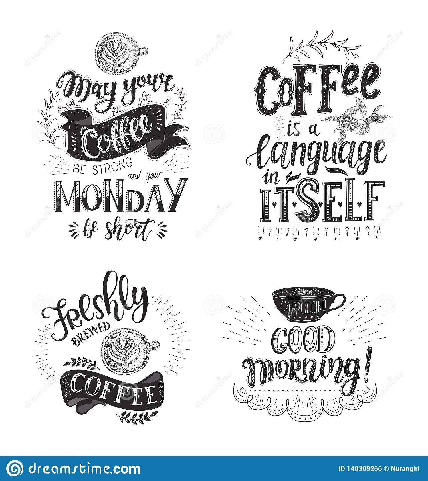 Set Of Coffee Quotes Vector Hand Drawn Lettering Stock Vector