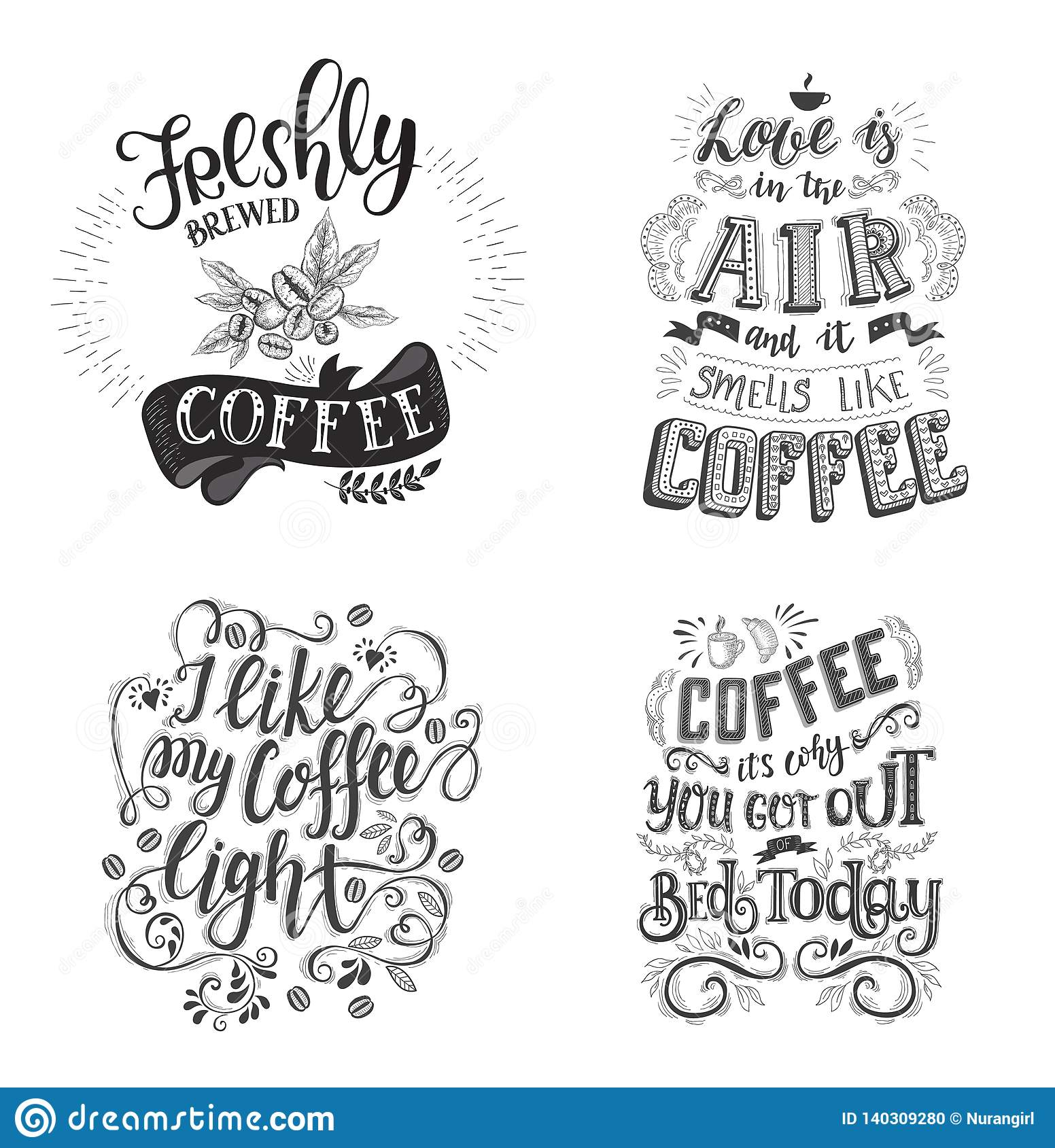 Set Of Coffee Quotes Vector Hand Drawn Lettering Stock Vector Illustration Of Coffee Plant 140309280