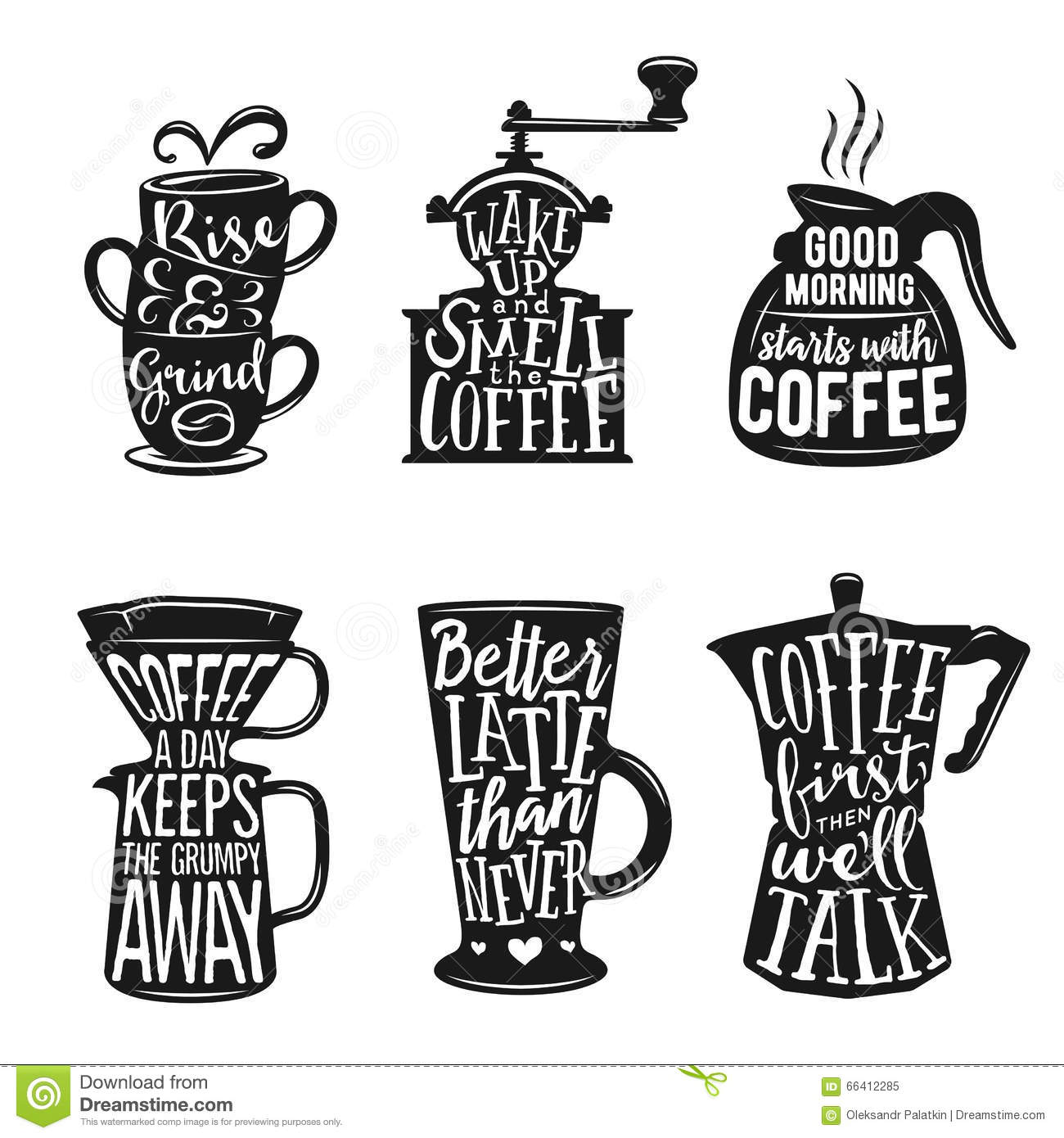 Set Of Coffee Related Typography Quotes About Coffee Vintage