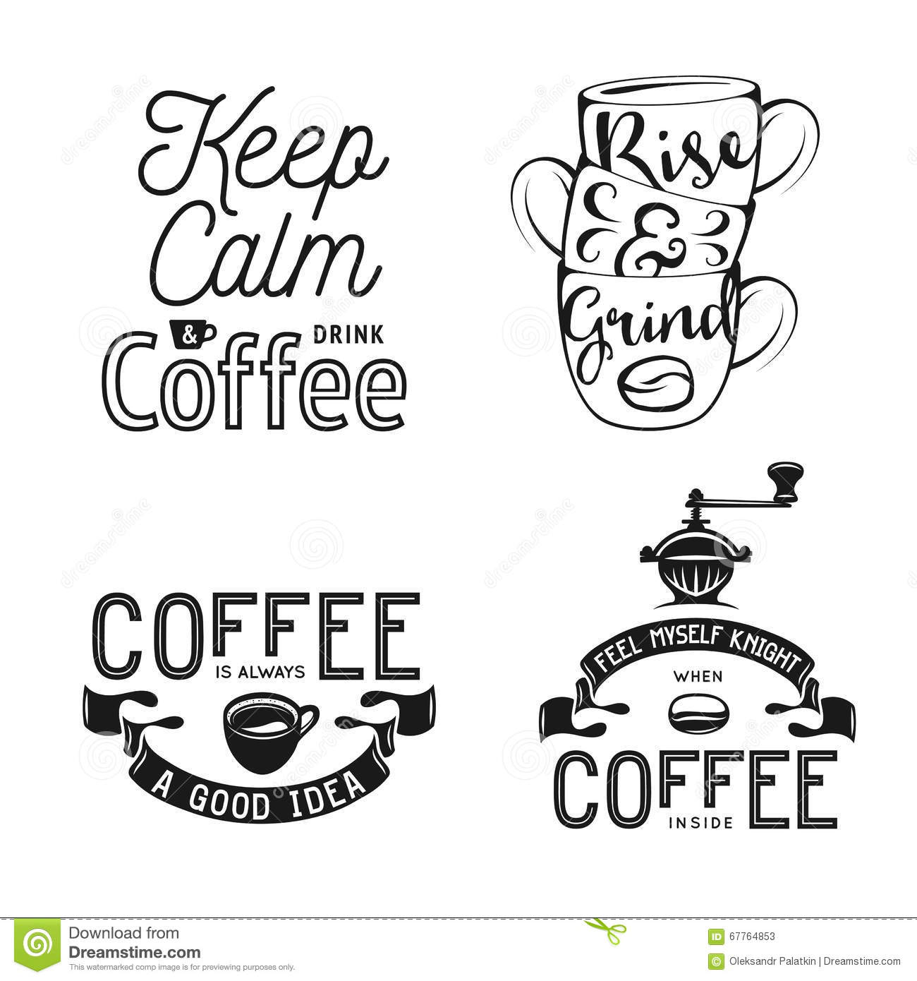 Vector Drawing Lines Quotes : Set of coffee related typography quotes about