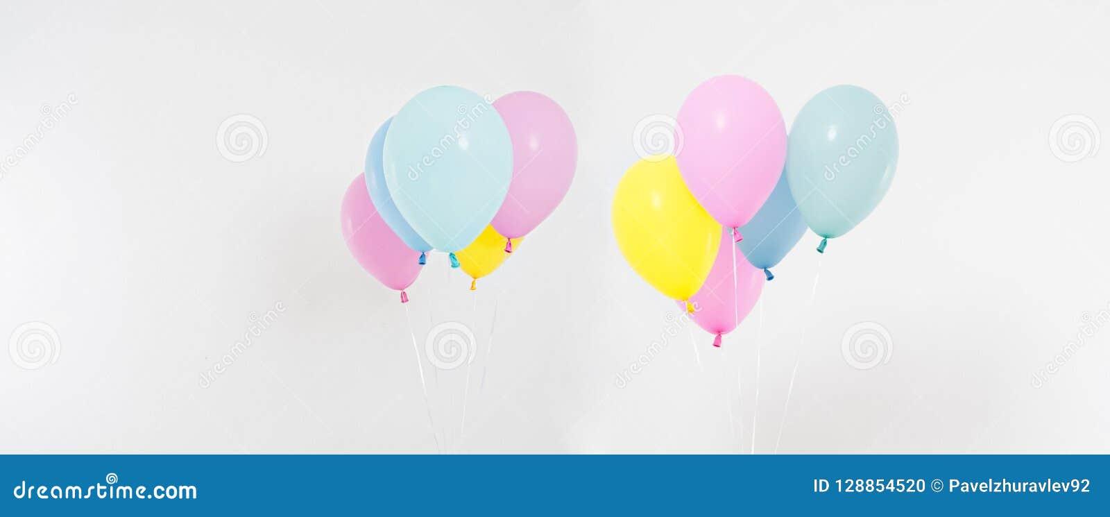 Set,collage coloured balloons background. Celebration, holidays, summer concept. Design template, billboard or banner blank