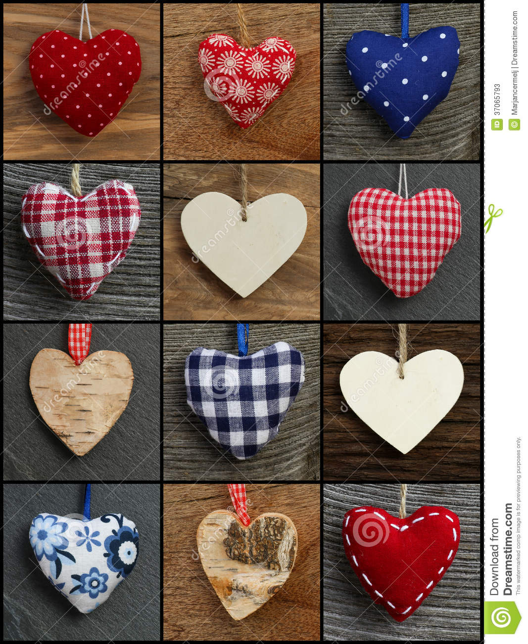 Set Collage Valentine's Love Hearts On Rustic Backgrounds ...