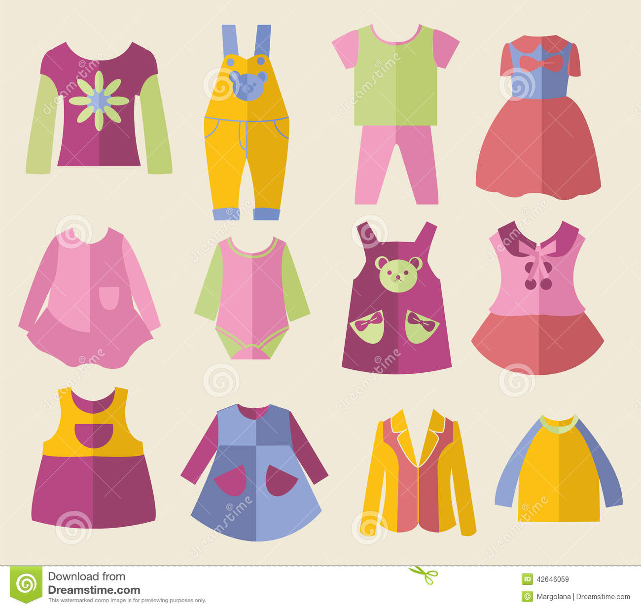 Set With Collection Of Children S Clothing Illustration