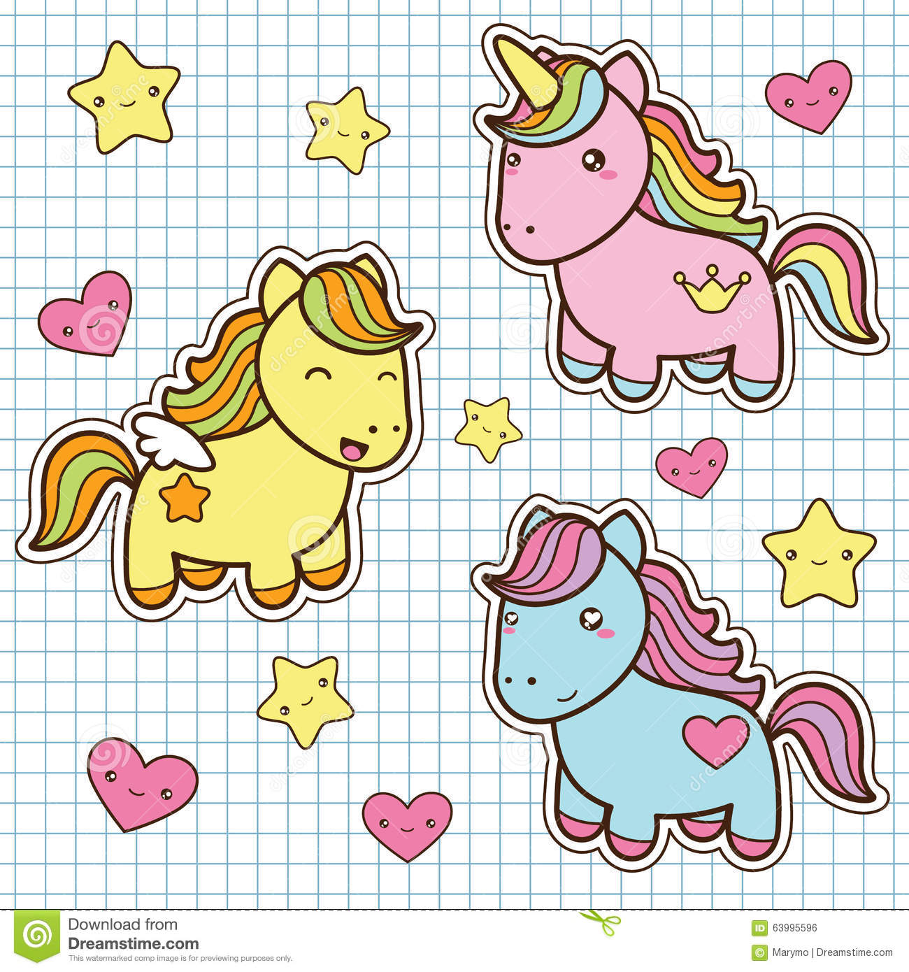 set collection of cute kawaii style horses stock vector