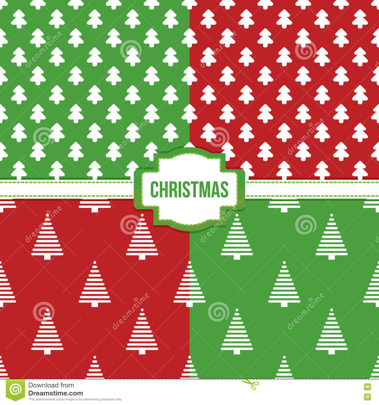 Set, Collection Of Four Simple Modern Colorful Christmas Trees ...