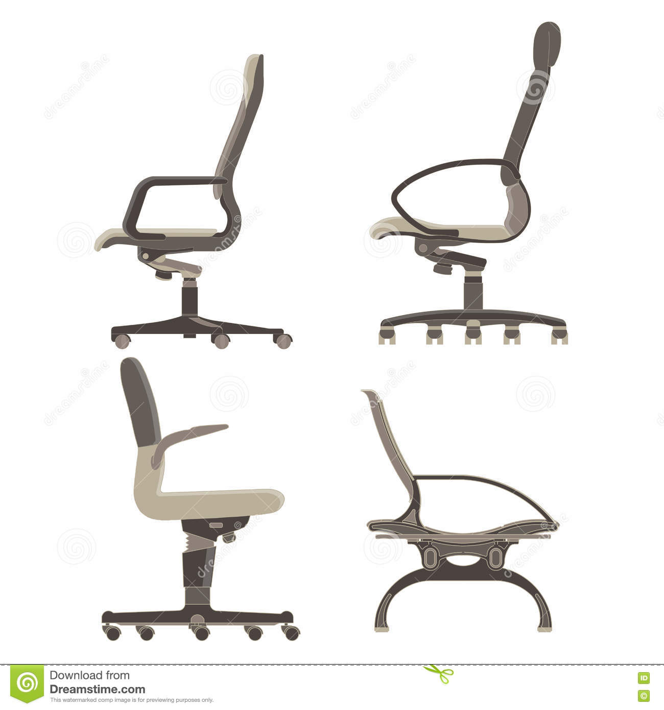 Set, Collection, Pack Office Chairs Side View Stock Vector ... for office chair vector side view  174mzq