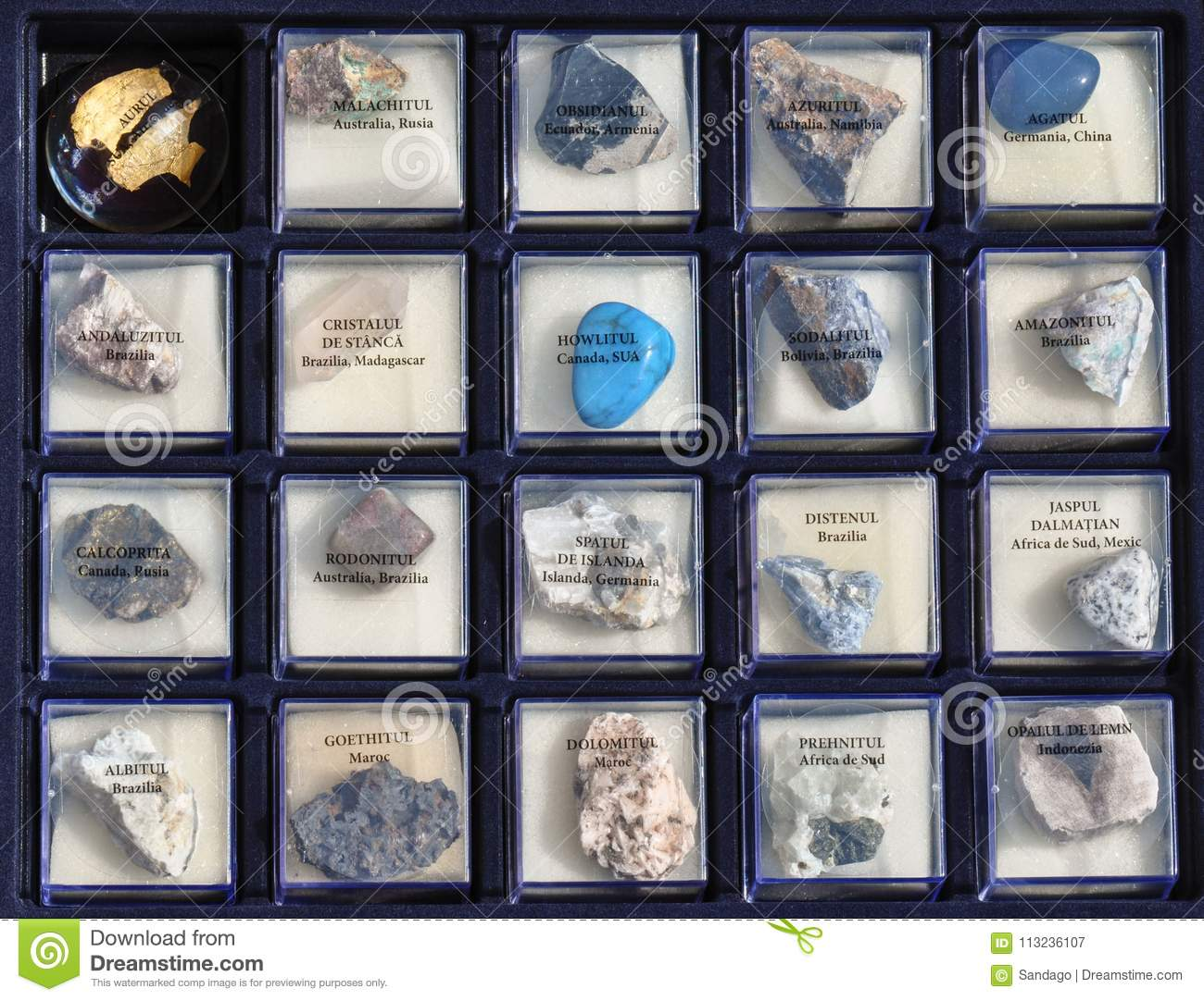 Set A Collection Of Rocks, Minerals In The Box Stock Image
