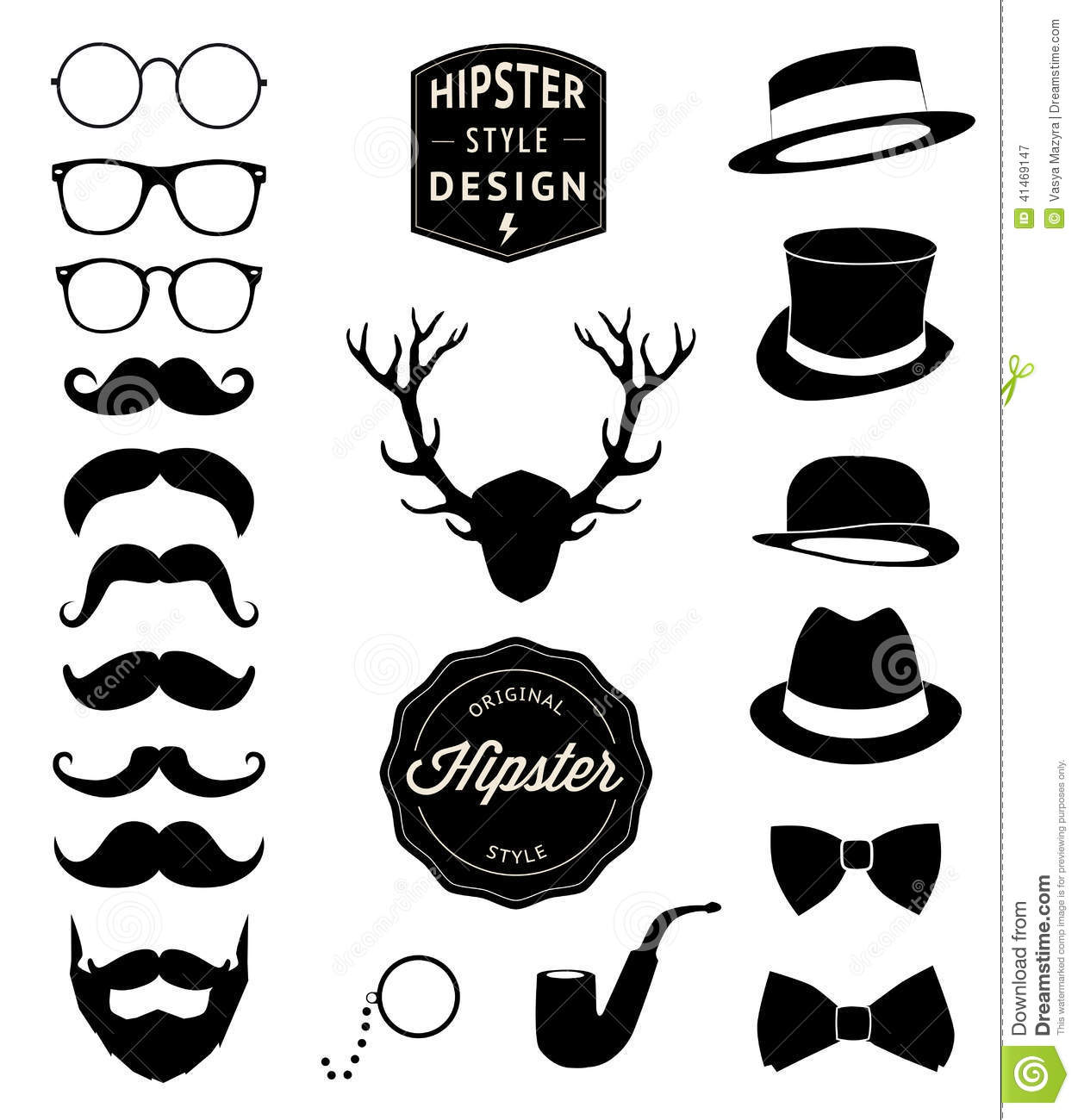 Set Of Collection Vintage Fashion Elements Vector Illustration Cartoon Vector Cartoondealer