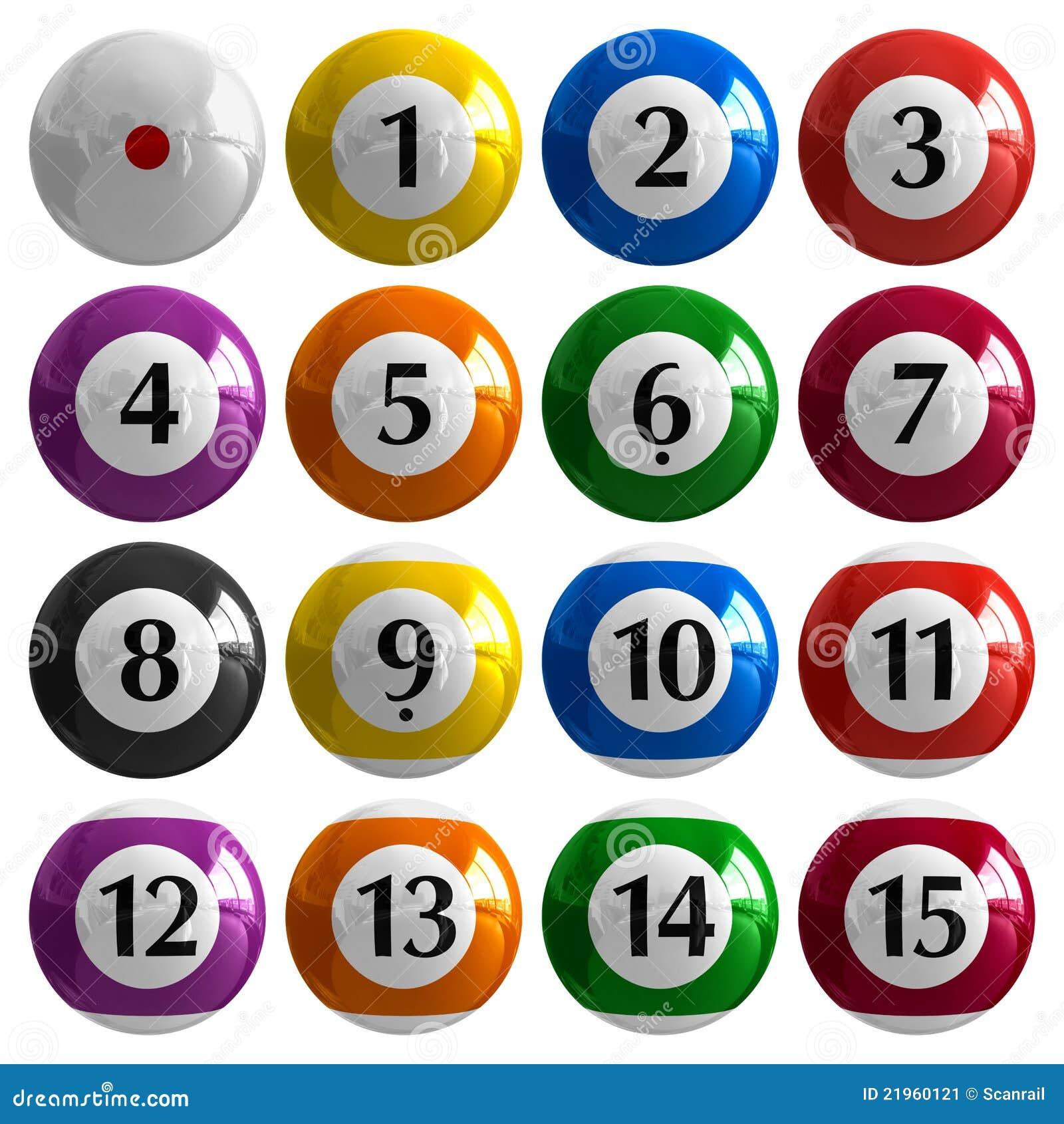 Set Of Color American Billiard Balls Stock Image - Image: 21960121