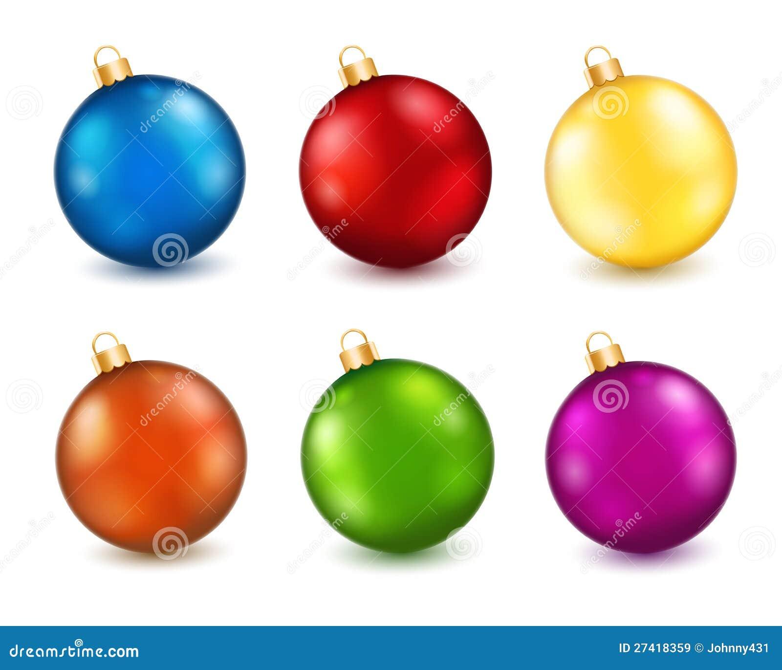 Set of color christmas balls stock vector image