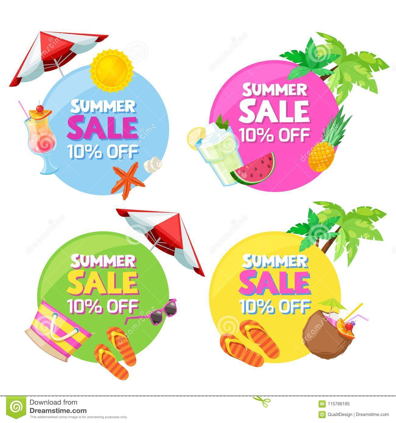 Set Of Color Circle Summer Fashion Sale Banners Stickers Badges