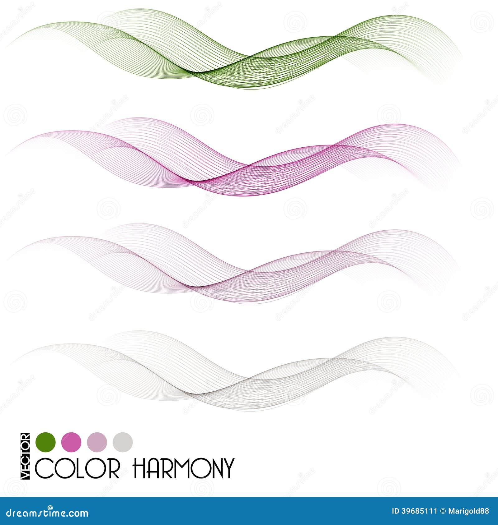 Set of color curve lines design element. Vector illustration.