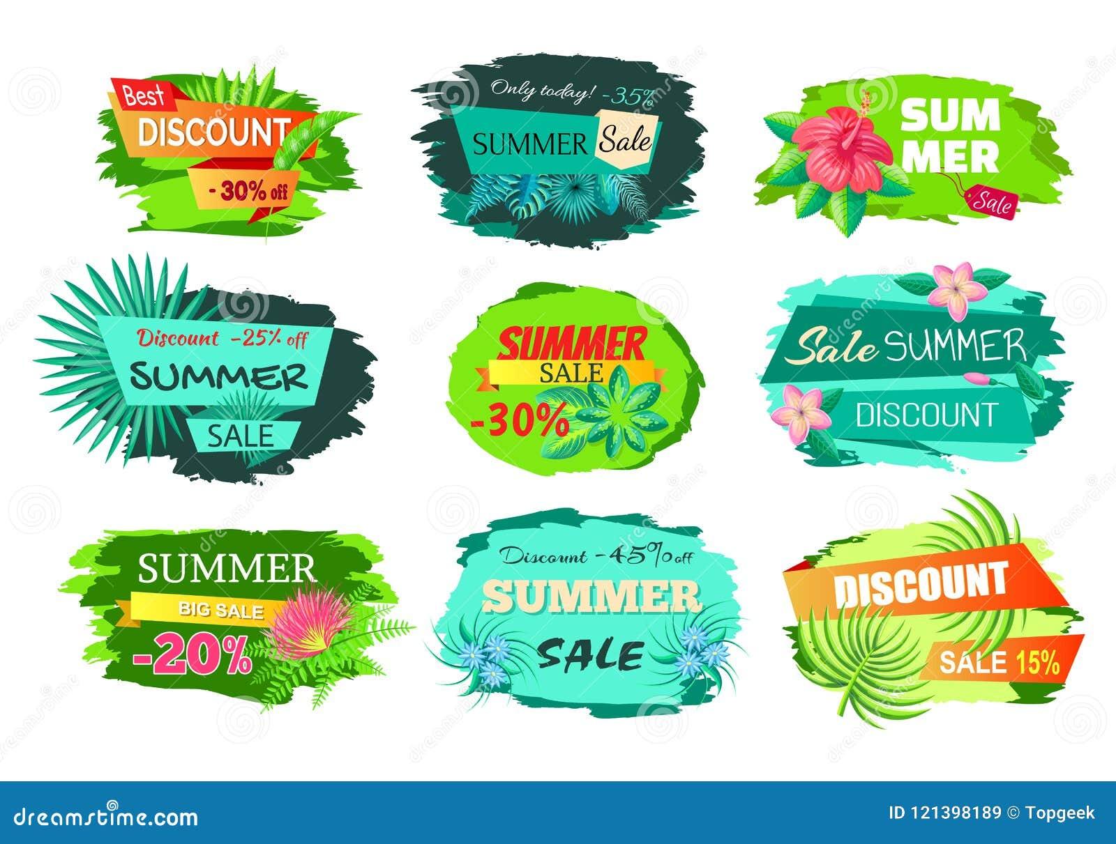 Set Color Discount Emblems Off Summer Sale Advert Stock Vector ...
