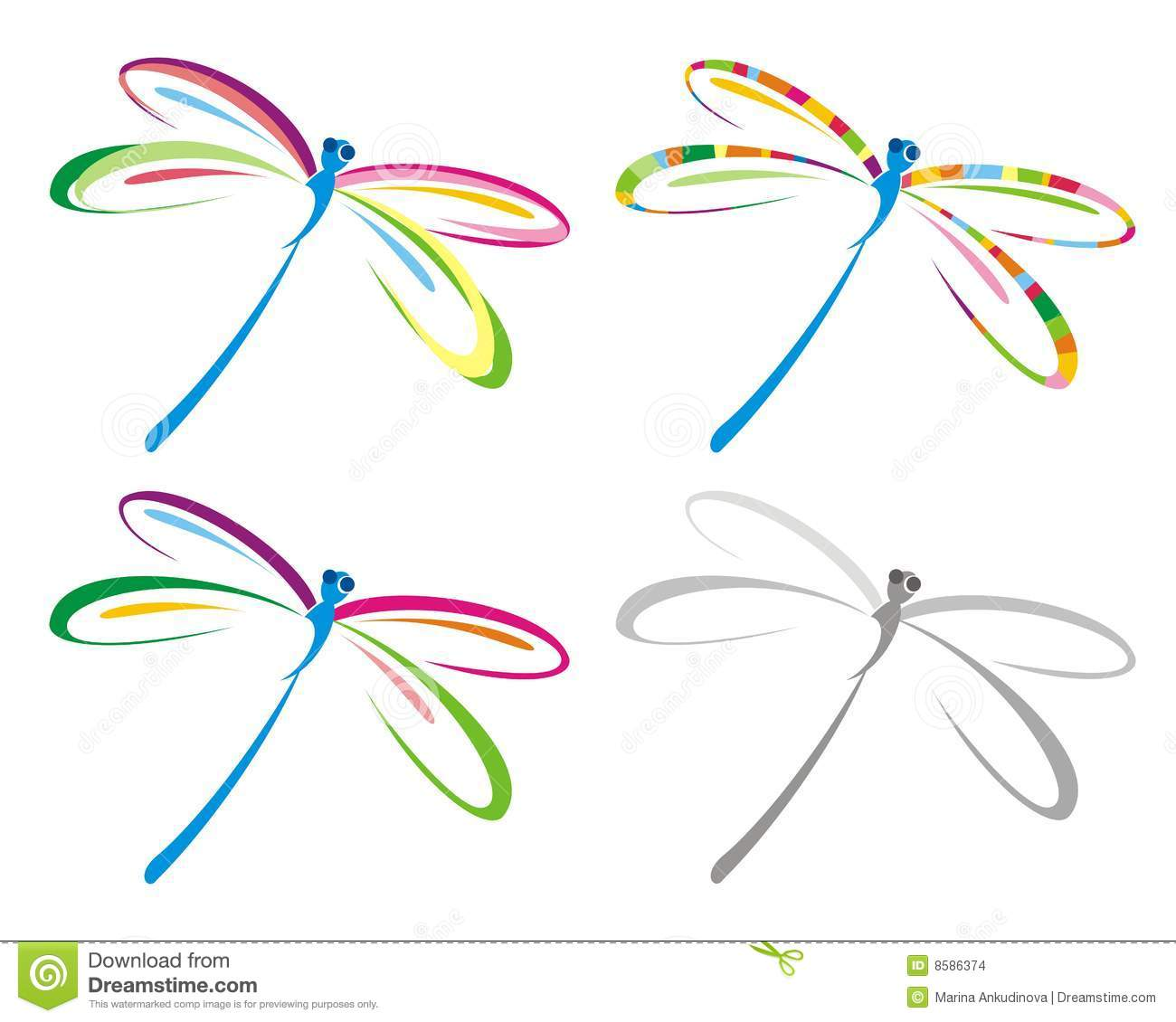 Set of color dragonfly.