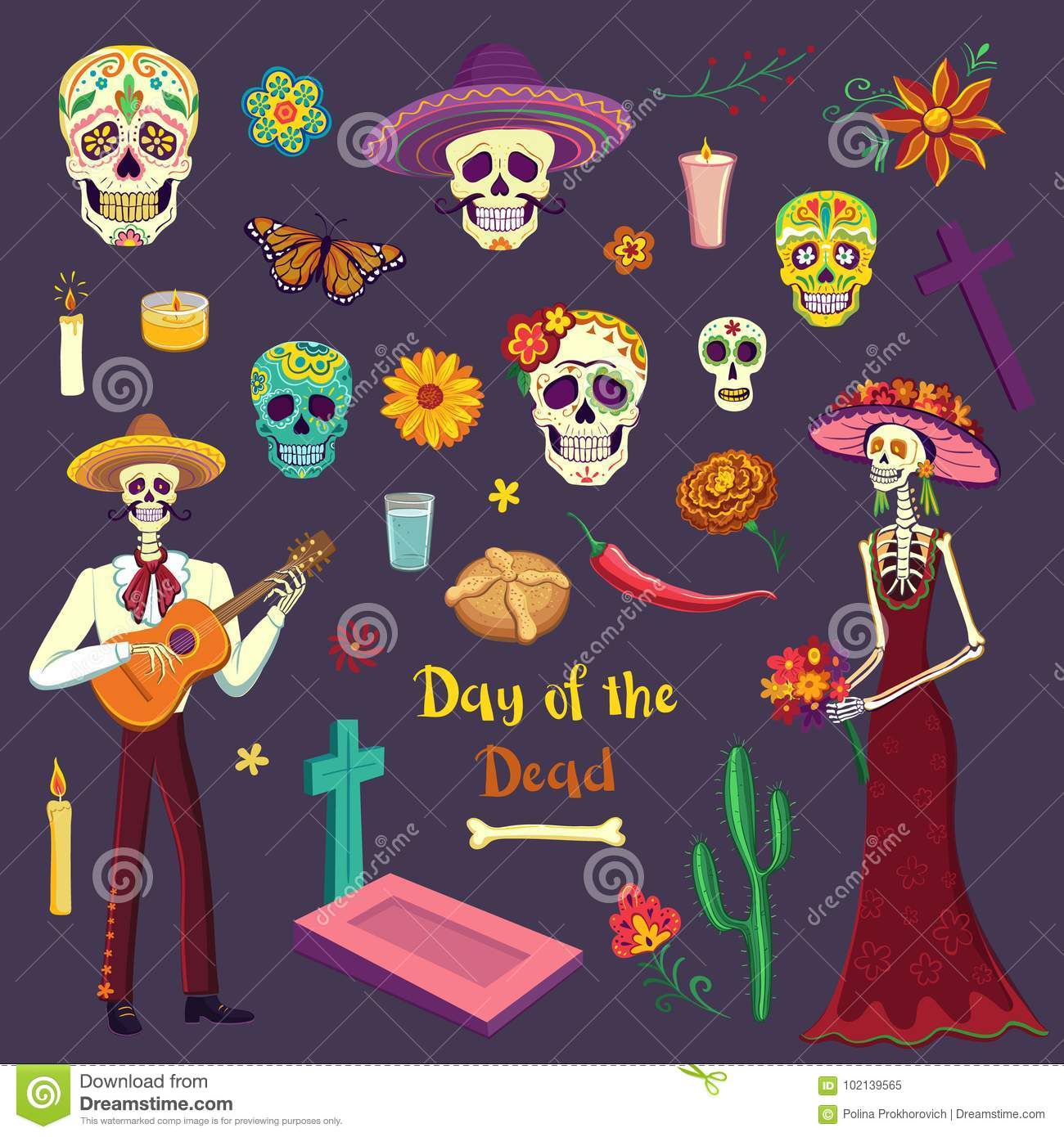 Set of color drawings Day of the Dead. Mexican symbols