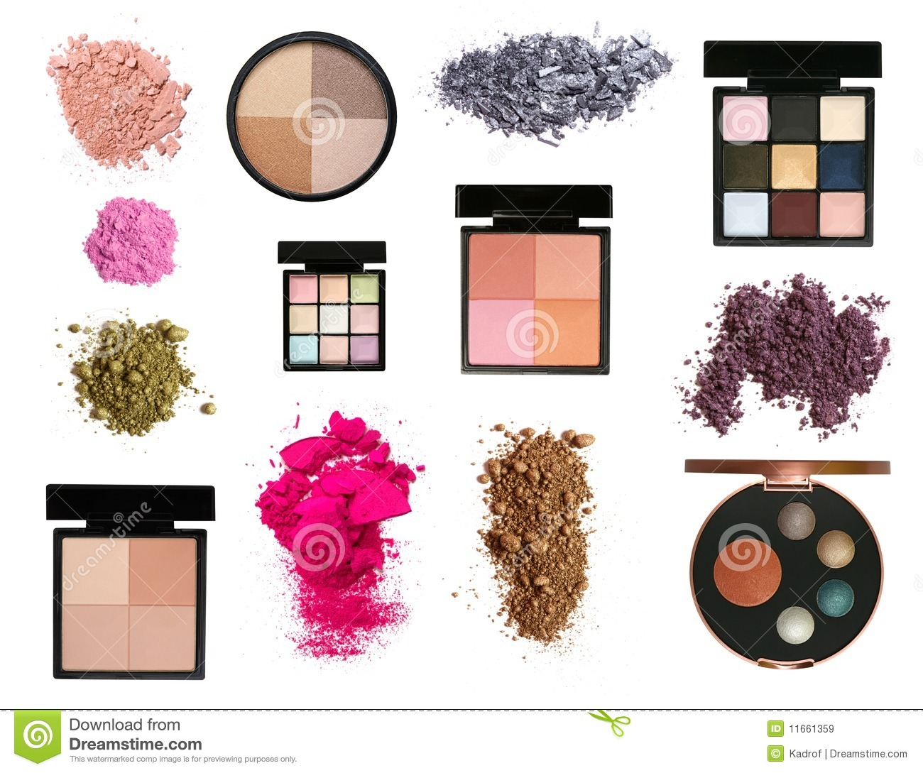 Set of color eyeshadows and blush palettes