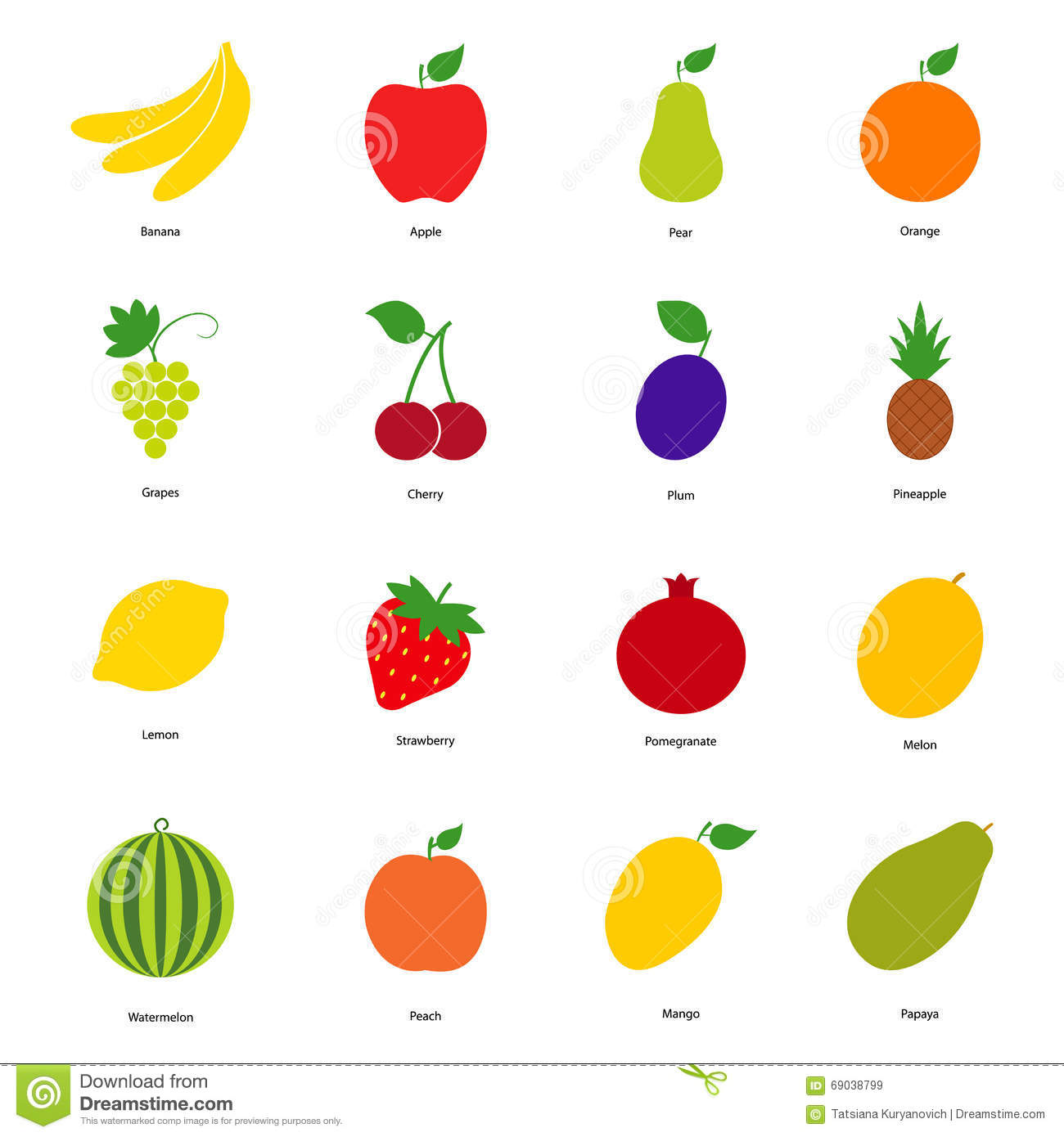 set of color fruit icons and berry icons stock vector image