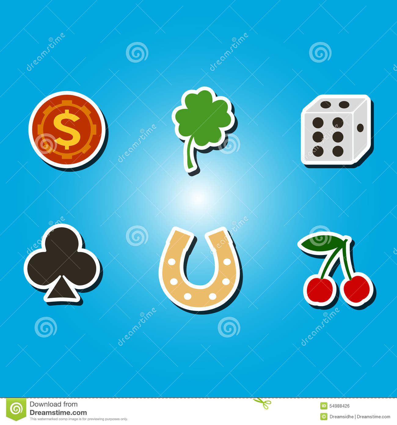 Set of color icons with symbols of gambling