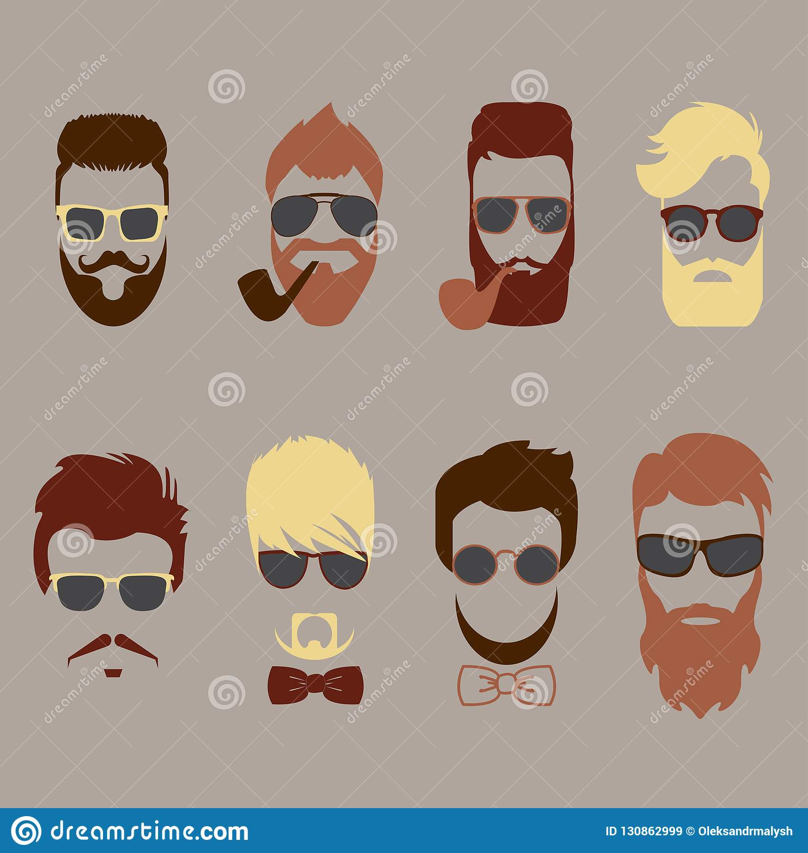 6415a531b Set of color mustache, beards, hair hipster with glasses, bow tie and  smoking pipes. Retro curly collection. Barber silhouette
