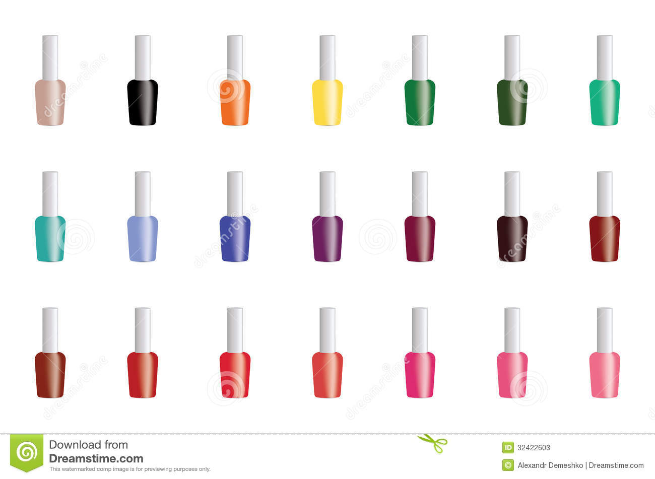 Set Of Color Nail Polish Stock Photos Image 32422603