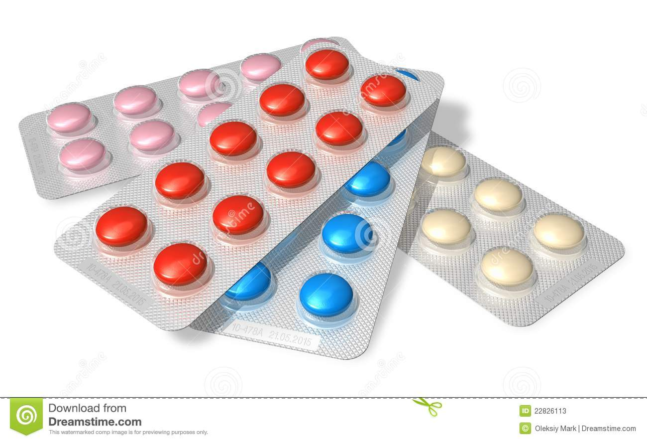 Set Of Color Pills In Blister Packs Stock Image