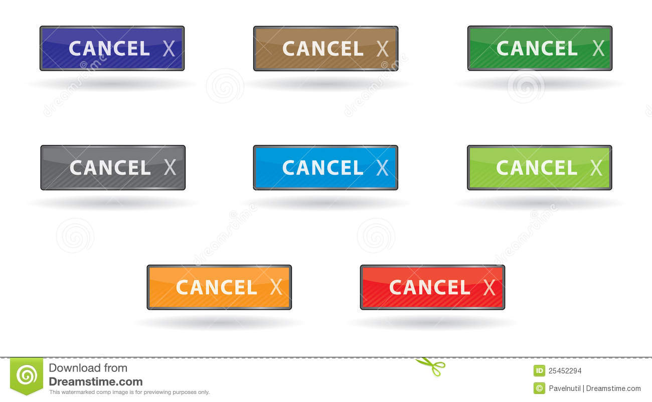 Set Color Shiny Cancel Button Stock Vector - Illustration ...