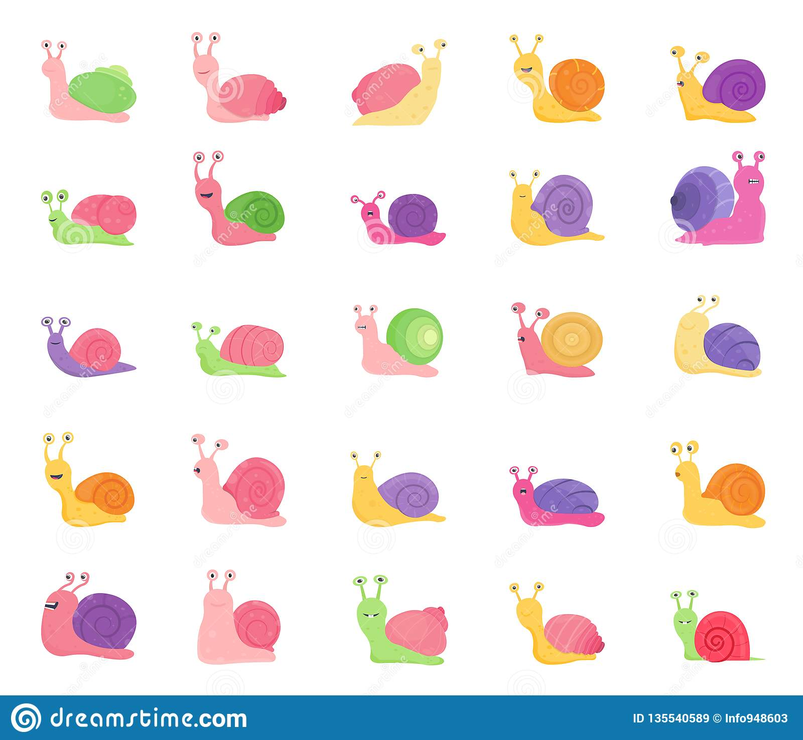 Set of Color Snail Icons isolated on white background