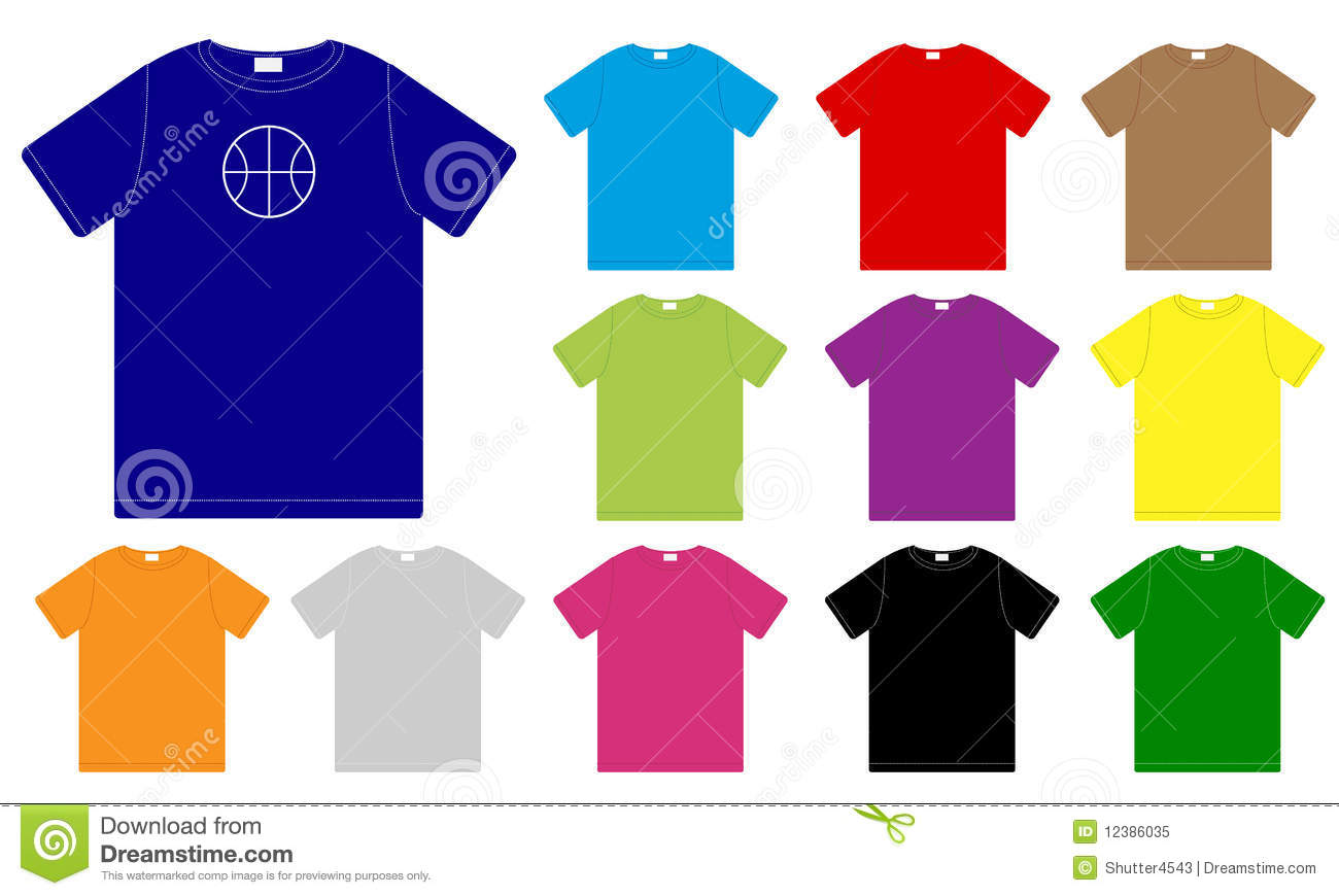 Set of color t shirts templates stock vector for How to copyright t shirt designs