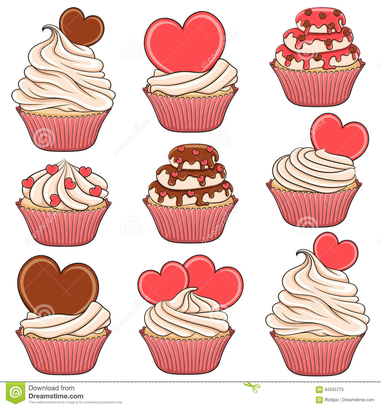 Set Of Color Vector Cupcakes With Hearts Stock Vector