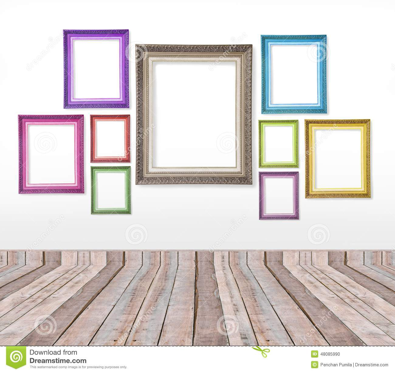 Set Of Color Vintage Picture Frames On The Wall Stock Photo - Image ...