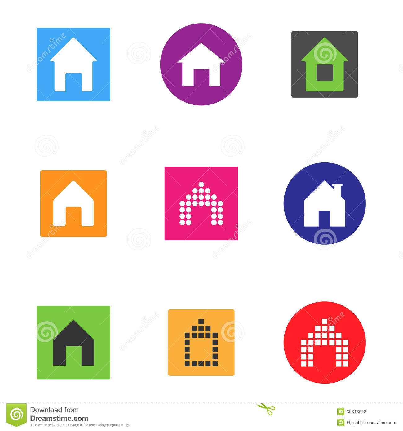 Vector Color Home Icon Set