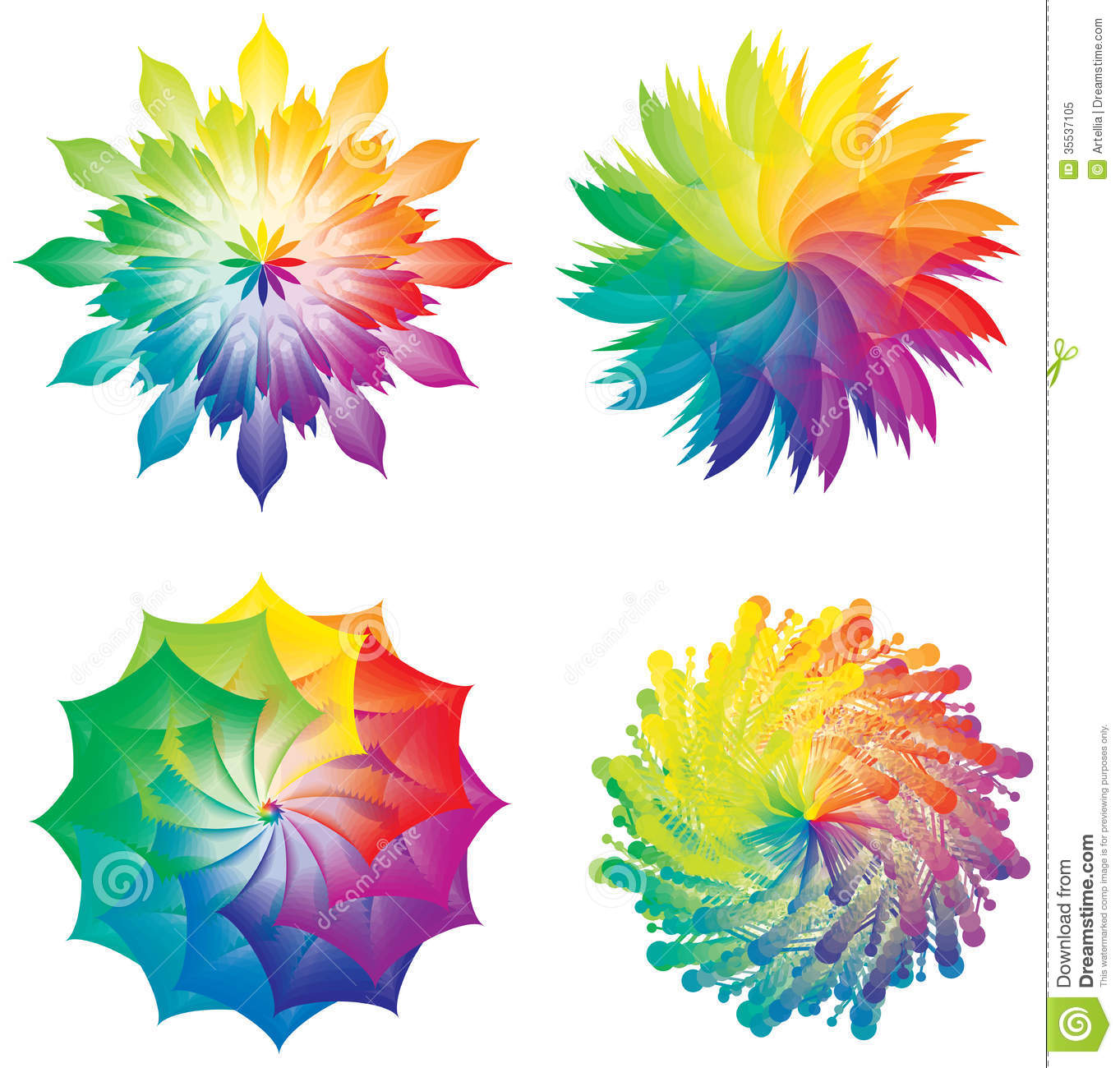 Set Of Color Wheels Circles Flowers Rainbow Colors