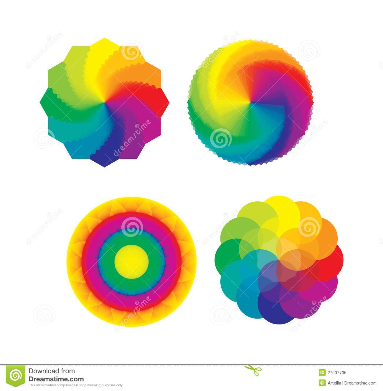 Set Of Color Wheels Flower Life Multicolored