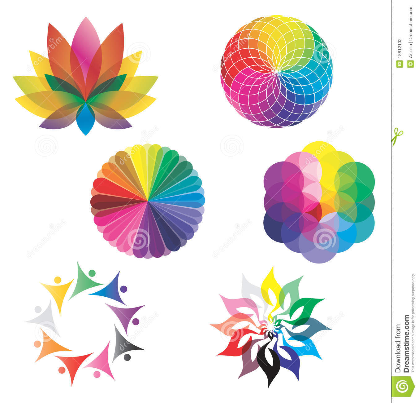 Set Of Color Wheels Lotus Flower Rainbow Colors Stock Vector