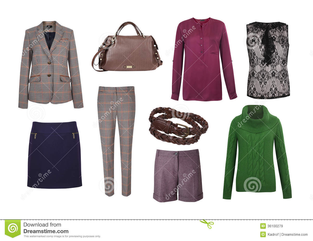 set of color women clothes stock image image of checkered 36100279