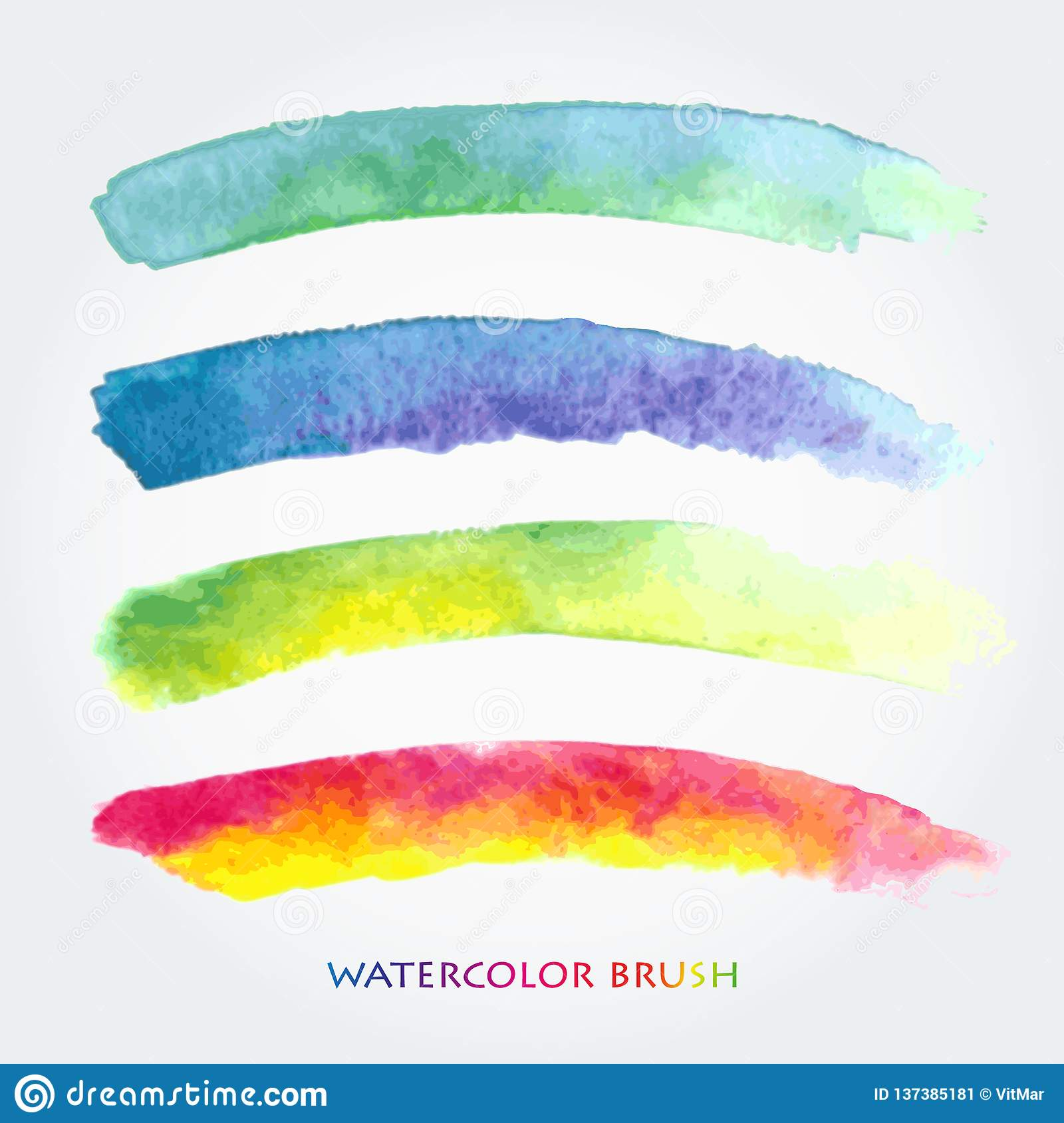 Set of colored brush strokes created with watercolors. Saved in the brushes palette
